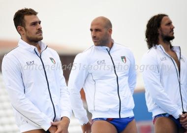 Zeno Bertoli - Gianmarco Nicosia - Gonzalo Echenique - Photo ©Antonella Mannara Valentino Gallo - Settebello- European Waterpolo Championships Barcelona 2018